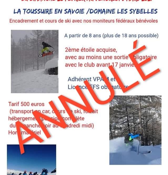 -ANNULE- STAGE DE SKI LA TOUSSUIRE DU 28 FEVRIER  AU 5 MARS